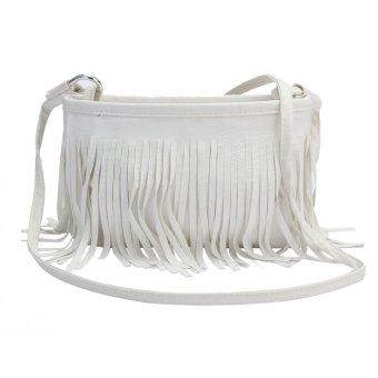 Bluelans Women Tassels Faux Leather Shoulder Bag Messenger Satchel White (Intl)