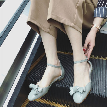 Low Heel Patent Leather Shoes Bowtie Candy Color Pumps(Gary) - intl