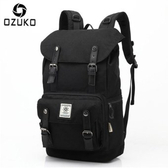 OZUKO Casual Men's Backpack Waterproof Oxford Drawstring Bag Laptop Computer Bag Fashion Student School Bag Travel Bag (Black) - intl