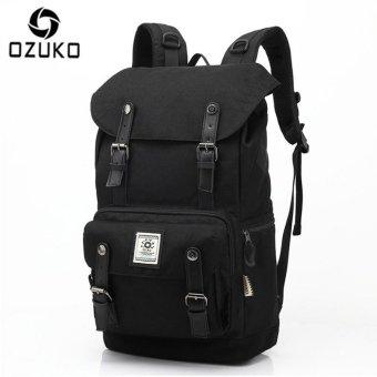 OZUKO Casual Men's Backpack Waterproof Oxford Drawstring Bag Laptop Computer Bag Fashion Student School Bag Travel Bag (Black) - intl