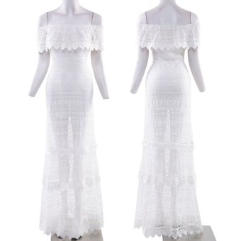 Zaful Women Maxi Dress Slash Neck Lace Design (White) - Intl--TC