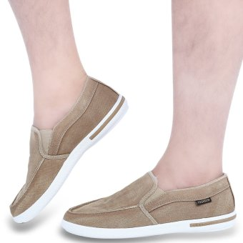 Casual Slip On Male Breathable Canvas Shoes(Light Brown) - intl