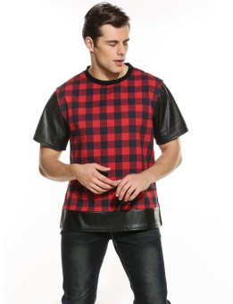 Linemart Mens Casual Short Sleeve O Neck Plaid Leather Patchwork Shirt ( Red&Black ) - intl