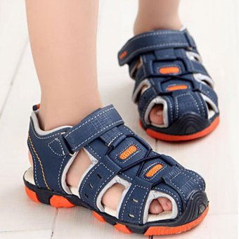 Moonar Boys Summer Sandal Children Casual Breathable Antiskid Leather Shoes (Dark Blue) - intl