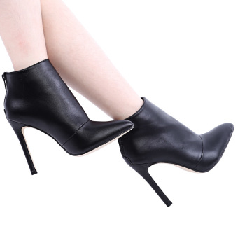 Sexy Zipper Design Pointed Toe Suede Ladies Thin High Heel Ankle Boots(Leather black) - intl