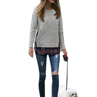 Freebang New Womens Fashion Check Plaid Long Sleeve Pullovers Thick Blouse Light Gray - intl