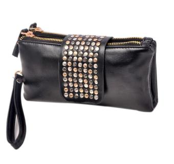 niceEshop PU Leather Bling Rivet Evening Clutch Bags Purse Wallet ,Black
