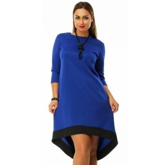Women Three Quarter Sleeve Bodycon Dress Plus Size Navy - intl