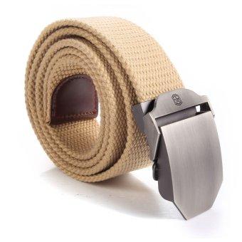 Unisex Adjustable Men Slider Buckle Military Tactical Long Weave Canvas Web Belt (Khaki) - intl