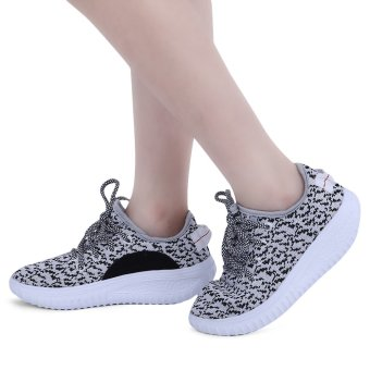 Stylish Round Toe Lace Up Light Ladies Sports Shoes(Gray) - intl