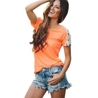 Gamiss Women Casual Lace Stiching T-shirt (Orange)--TC - intl