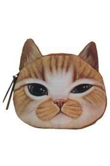 Bluelans 3D Cat Head Zipper Case Coin Purse Wallet Makeup Buggy Bag Pouch (Intl)