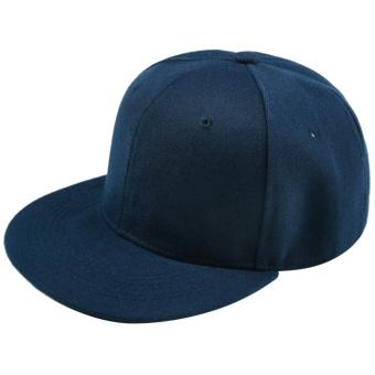 Unisex Polyester Cotton Adjustable Pure Color Plain Hiphop Sport Baseball Trucker Snapback Hat Cap Dark Blue - intl