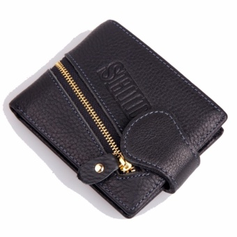 Men Wallet Genuine Leather Cow Leather Multifunctional Purse Billfold(Black 01#) - intl
