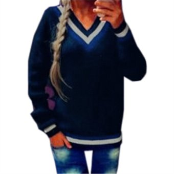 Womens Loose Long Sleeve Knit Sweater Tops Jacket V- Neck Pullover Jumper Coat (Navy) - Intl