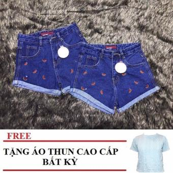 Quần short jeans thêu hoa cao cấp phong cách Hàn Tặng Kèm Áo Thun Cao Cấp Bất Kỳ