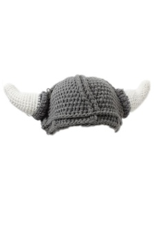 LALANG Knitted Wool Yarn Crochet Beanie Hat (Grey)