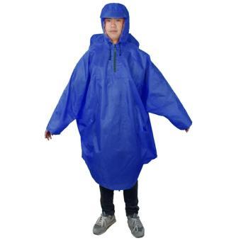 Adult Unisex Women Men Outdoor Portable Reusable Raincoat Wind Coat Rain Poncho Hood Raincoat Cape Cover for Hiking Mountaineering Biking Dark Blue - intl