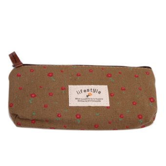 Fancyqube Floral Canvas Pencil / Stationery Bag Coffee - Intl