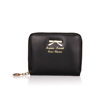 Women Fashion Cute Purse Clutch Wallet Short Small Bag PU Card Holder Black
