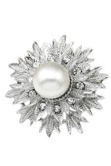 Rhinestone Wedding Bridal Bouquet Silver Flower Faux Pearl Brooch Pin 08 Sliver