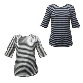 Bộ 2 áo phông kẻ nam nữ mẫu 02