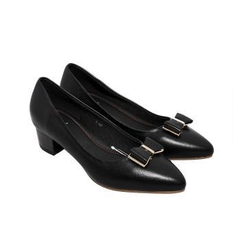 Giày nữ cao gót 3cm da bò thật cao cấp màu đen ESW86