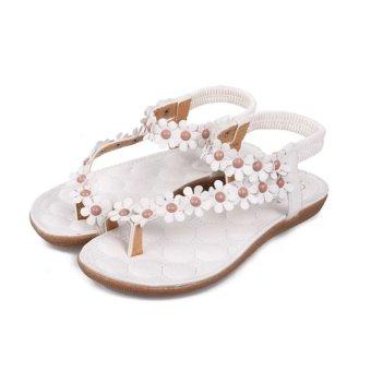 Fancyqube Bohemia Floral Beach Sandals White - Intl