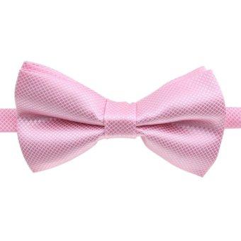 Fashion Men's Tuxedo Bowtie Solid Color Neckwear Adjustable Wedding Party Bow Tie Necktie Pre-Tied Light Pink - Intl