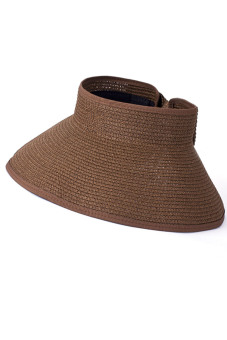 Women Ladies Girls Outdoor Traveling Folding Summer Large Brimmed Beach Sun Straw Hat Visor Hat Cap Coffee (Intl) - intl