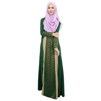 New Fashion Women Muslim Maxi Dress Contrast Color Pitches Long Sleeve Abaya Kaftan Islamic Indonesia Robe Long Dress Green - intl