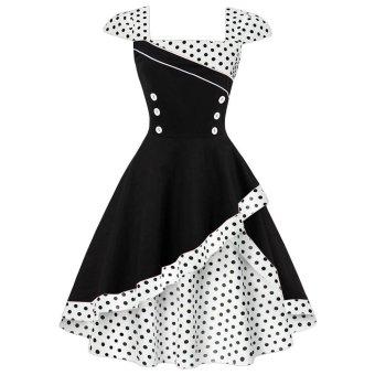 Zaful Woman Vintage Dress Floral Printing Elegant Style Halter Neckline Sleeveless And Color-Block Design Retro Fit&Flare Dress(White) - intl