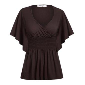 Cyber Meaneor Women Lady V-Neck Short Batwing Sleeve High Elastic Waist Tunic T-Shirt Top - Intl
