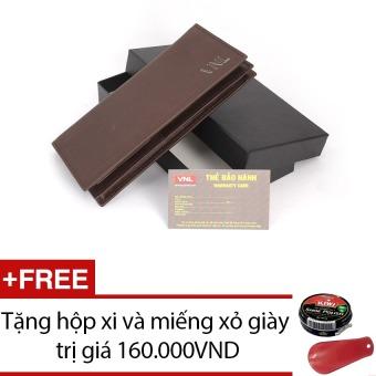 Ví cầm tay nữ da thật Da Giày Việt Nam VNLLDT10AZA10Q (Nâu sậm) + Tặng hộp xi và miếng xỏ giày
