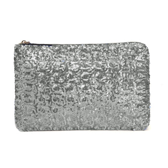 Fashion Women Clutch Bag Dazzling Sequins Glitter Sparkling Handbag Evening Party Bag Silver (Intl)