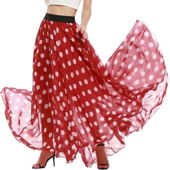 Linemart Meaneor Women Summer Elastic Waist Chiffon Mopping Floor Length Big Hem Beach Maxi Long Skirt ( Red + White ) - intl