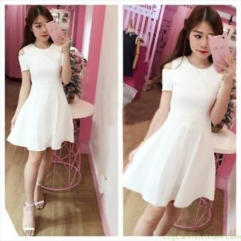 Đầm xòe hở vai màu trắng dễ thương | Đầm xòe đẹp