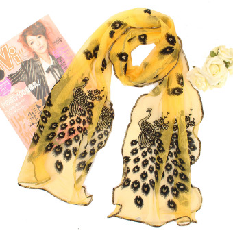 Fashion Women Silk Scarf Long Soft Peacock Wrap Ladies Shawl Girls Silk Scarves - Intl