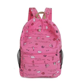Fashion Cartoon Printing Women Canvas Backpack Schoolbag Hot Pink