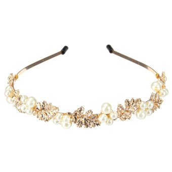 Women New Fashion Charm Metal Alloy Head Jewelry Headband Pearl Jewelry Hair Accessories Gold Leaves Gift Royal Baroque Style White - intl