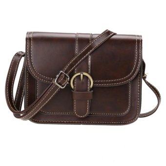 Women PU Leather Tote Mini Square Shoulder Crossbody Bag (Dark Brown) - intl