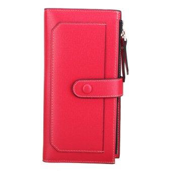 Women Leather Zipper Coin Money Credit Card Long Wallet Clutch Purse Handbag HOT Red - Intl