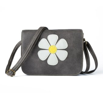 Women Shoulder Bag PU Leather Daisy Applique Flap Color Block Vintage Crossbody Bag Grey - Intl