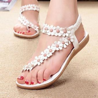Women's Fashion Summer Bohemia Sweet Beaded Sandals Clip Toe Sandals Beach Shoes White - intl