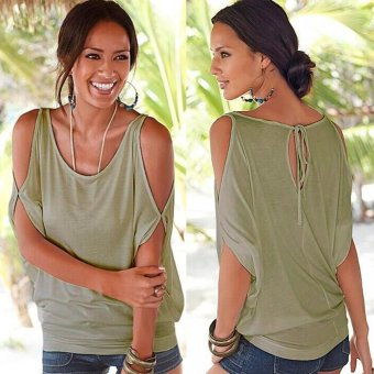 Gamiss Casual Loose T-Shirt Women Off The Shoulder Design(Army Green) - Intl--TC