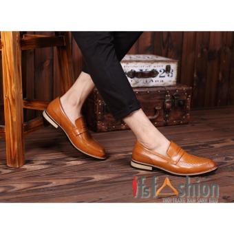 Giày Mọi Nam Hàn Quốc Da Màu Nâu Bò Đế Gỗ HQ63