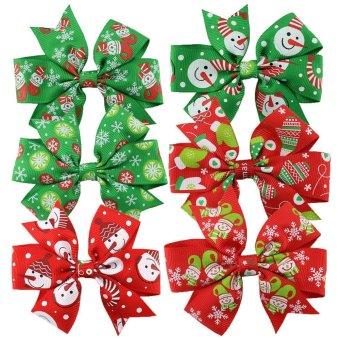niceEshop 6Pcs Grosgrain Christmas Hair Bows Hair Clips For Baby Girls Toddlers - intl