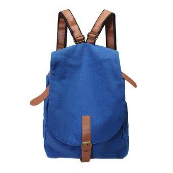 Linemart Women Fashion Vintage Canvas Satchel Rucksack Travel Schoolbag Bookbag Backpack ( Blue ) - intl