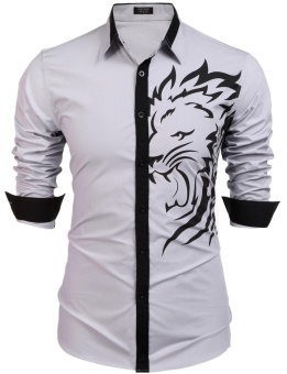 Cyber Men's Long Sleeve Fashion Print Casual Button Down Shirt ( Silver ) - intl