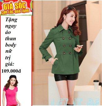 Áo khoác kaki phối nhún (Xanh) + Tặng 1 áo thun body nữ